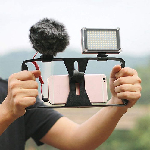 Cage Rig Stabilizer Smartphones Video Film Production Double Handle