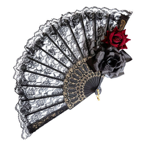 Vintage Lolita Victorian Gothic Women Lace Hand Fan Black Red Rose Gothic Fans