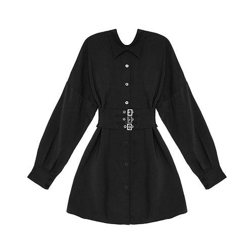 Black Pastel Gothic Long Sleeve Shirt Women Blouse Metal Belt Design Blouses