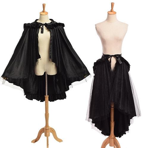 Women Steampunk Ruffle Bustle Skirt Retro Victorian Black Gothic Cape