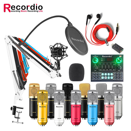 BM800 Professional Condenser Microphone V8 Sound Card Set