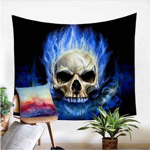 Flame Skull Tapestry 3D Print Wall Hanging Blue Red Fire Gothic Wall Decor