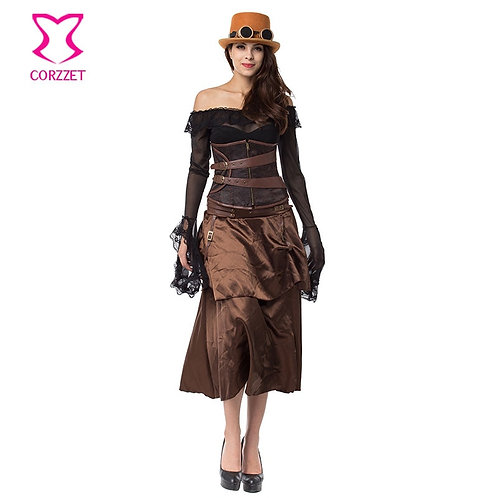 Brown Brocade Corsets and Bustiers Steampunk Couture Waist Trainer