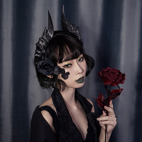 Gothic Steampunk Evil Horns Headband Halloween Party Photography Lolita