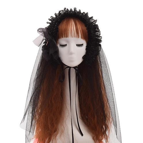 Black Veil Women Lolita Lace Cross Bow Tie Gothic Headband