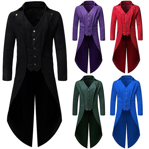 Vintage Unisex Costumes Gothic Windbreaker Men Long Sleeve Steampunk Jacket