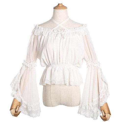 White Chiffon & Lace Ruffles Slash Neck Flare Sleeve Sweet Lolita Shirt Women