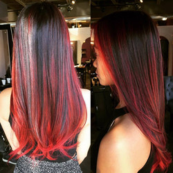 Red Balayaged Ombre & Cut