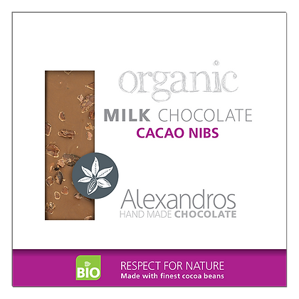 Organic milk chocolate cacao nibs