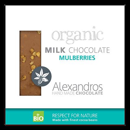 Βιολογική σοκολάτα γάλακτος με άσπρα μούρα