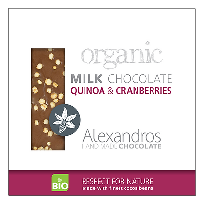 Organic milk chocolate quinoa & cranberries