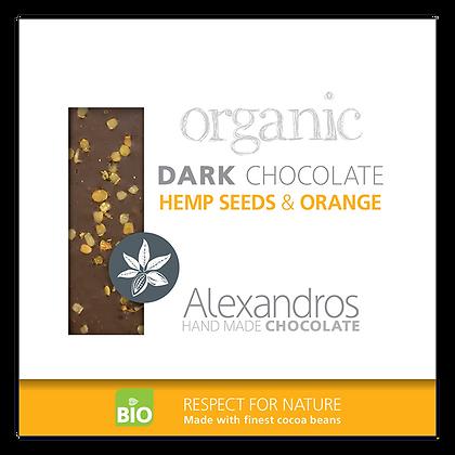 Βιολογική σοκολάτα υγείας με σπόρους κάναβης και έλαια πορτοκαλιού