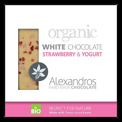 Βιολογική σοκολάτα λευκή με φράουλα και γιαούρτι