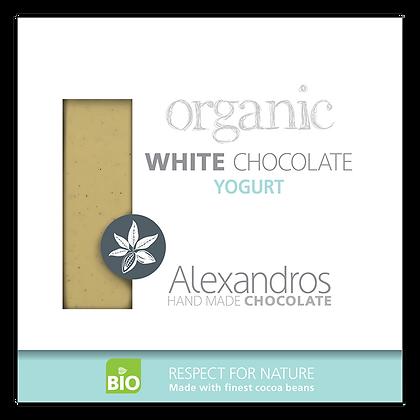 Βιολογική σοκολάτα λευκή με γιαούρτι