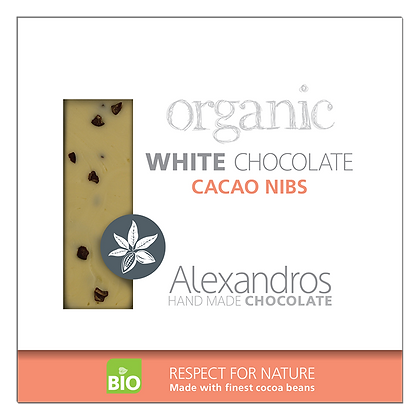 Organic white chocolate cacao nibs