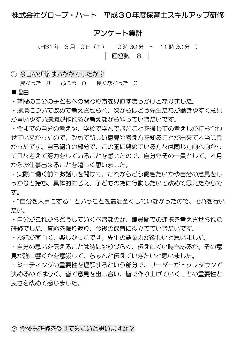 株式会社グローブ・ハート 平成30年度第2回保育士スキルアップ研修アンケート集計