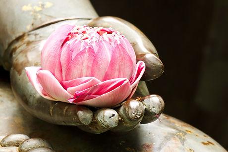 buddha holding a lotus flower