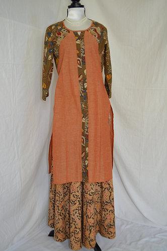 peach color cotton kurti with kalamkari design