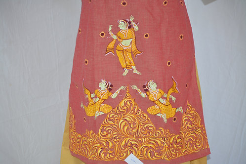 Salmon pink pure south cotton kurti with Pattachitra