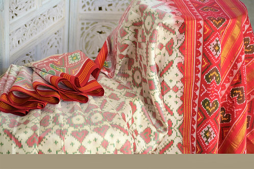 White and Red Double Ikkat Semi Patan patola