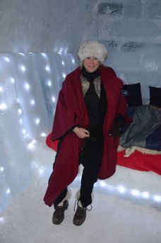 This is our room for the night, a block of solid ice, Balea Lac Ice Hotel, Romania.