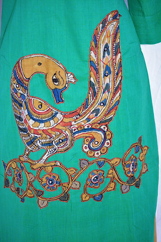 Sea Green cotton with kalamkari patch work Kurti