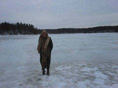 Venturing out on the ice, Walden Pond, Massachusetts.