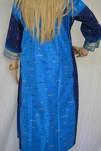 Blue and skyblue Sambalpuri bomkai silk Kurti