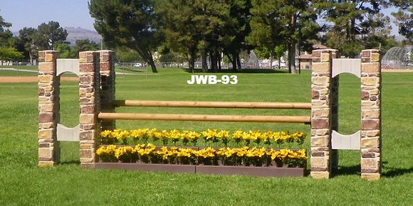 JWB-93 Stone pillars, cedar poly log rails, flower stair w. flowers. Oxer
