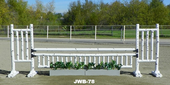 JWB-78 Birch rails, flower boxes, flowers, picket gate and wings