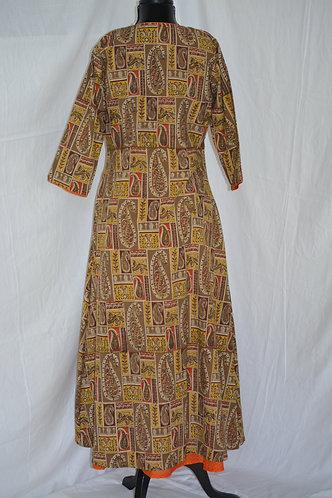 orange with cotton kalamkari jacket designed long chudidar dress set