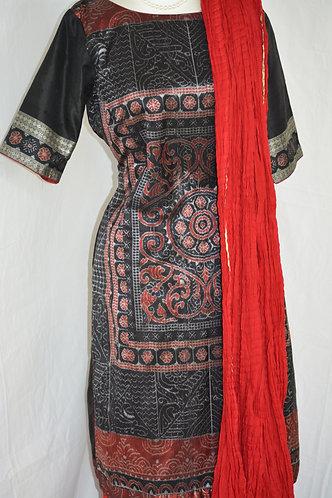 Black Red sambalpuri Bandha Kurti with skirt wide Gold border and dupatta
