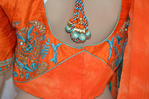 Orange fine tussar silk designer ghagra and georgette shiffon hand embroi choli
