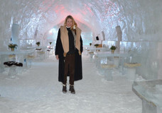 Ice Hotel, Balea Lac, Romania.  Mom became officially the oldest person ever to spend a night sleeping on the solid ice, older even than the father of the family who built the Ice Hotel.