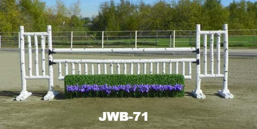 JWB-71 Birch rails, flowers, picket gate, rail, wings and small box hedge