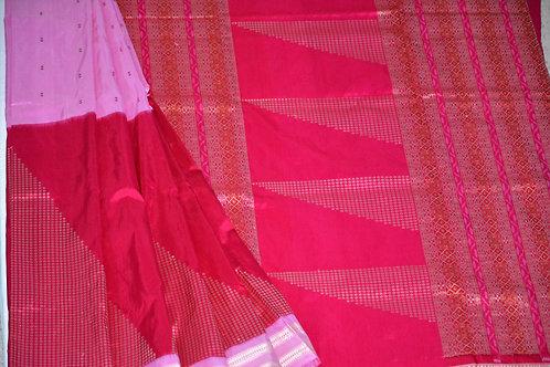 Samabalpuri Bomkai pink wih Dark Pink half and halh design