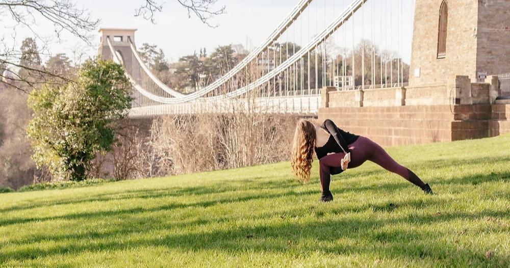 Bristol Yoga Teacher at Clifton Suspension Bridge offering online yoga classes