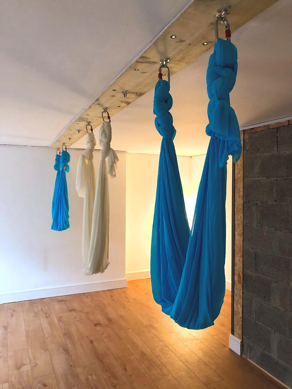 Aerial Yoga hammocks in the yoga studio in Clifton