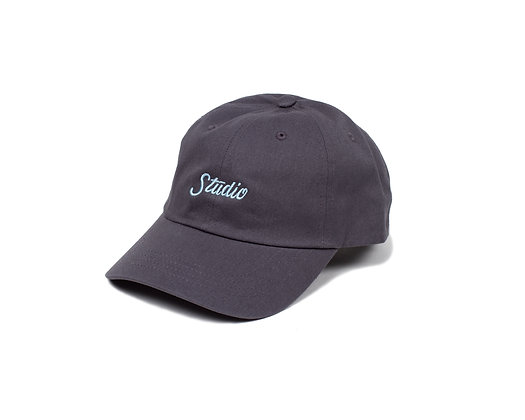 Small Script - Dad Hat - Dark Grey w/Powder Blue