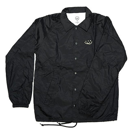 Smiley Embroidered Coaches Jacket - Black