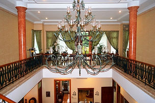 This Jakarta BedandBreakfasts chandelier is exquisite.