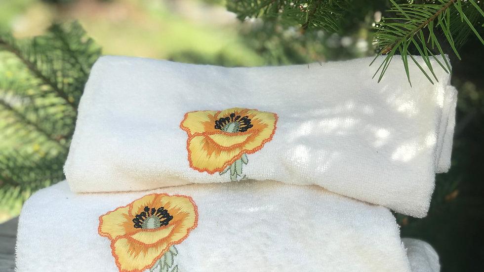 Coppia asciugamani papavero