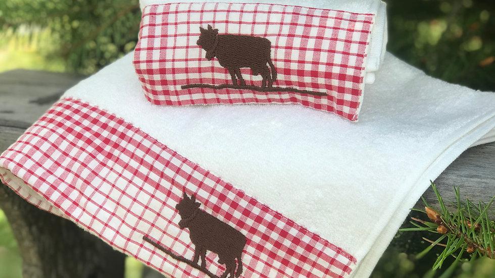 Coppia asciugamani mucca