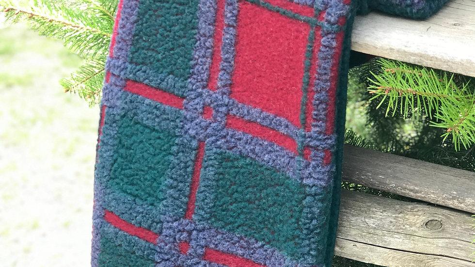 Plain in lana Quadrato Verde-Blu