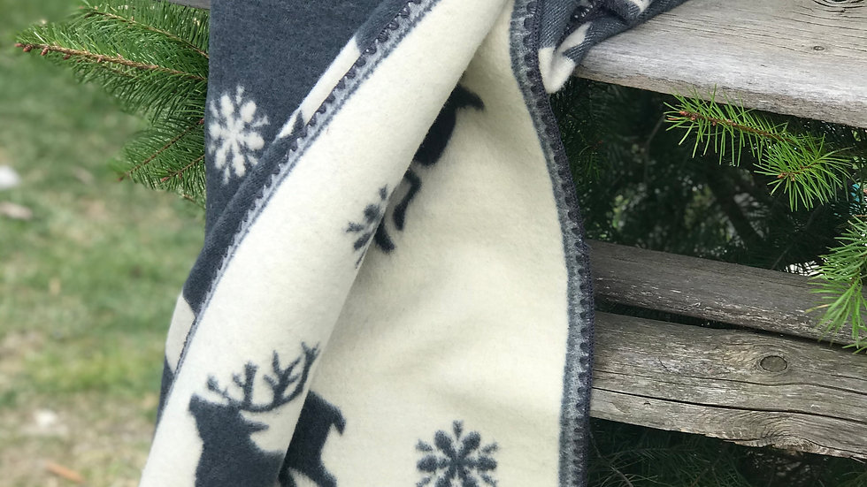 Plaid lana cervo bianco-blu