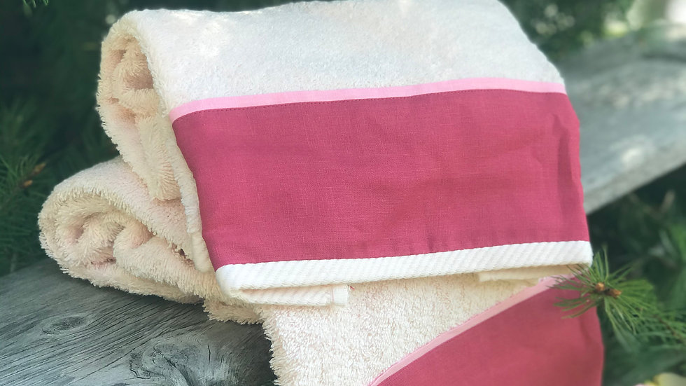 Coppia asciugamani bordo lino