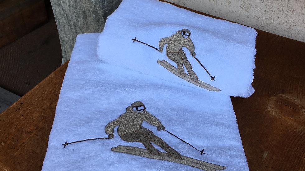 Coppia asciugamani sciatore