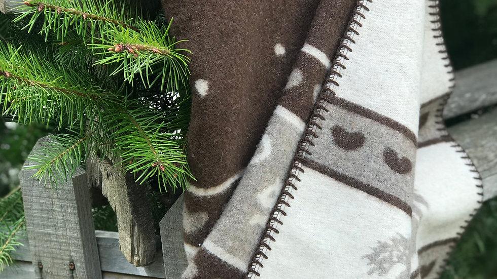 Plaid in lana con cervi Bianco-Marrone