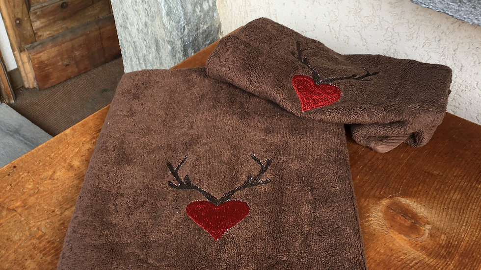 Coppia asciugamani cuore e palco