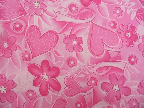 Timeless Treasures Vivid pink floral fabric for Breast Cancer Support